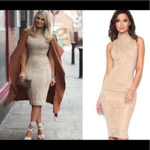 House of CB London Tan Suede Sergia Bodycon Dress